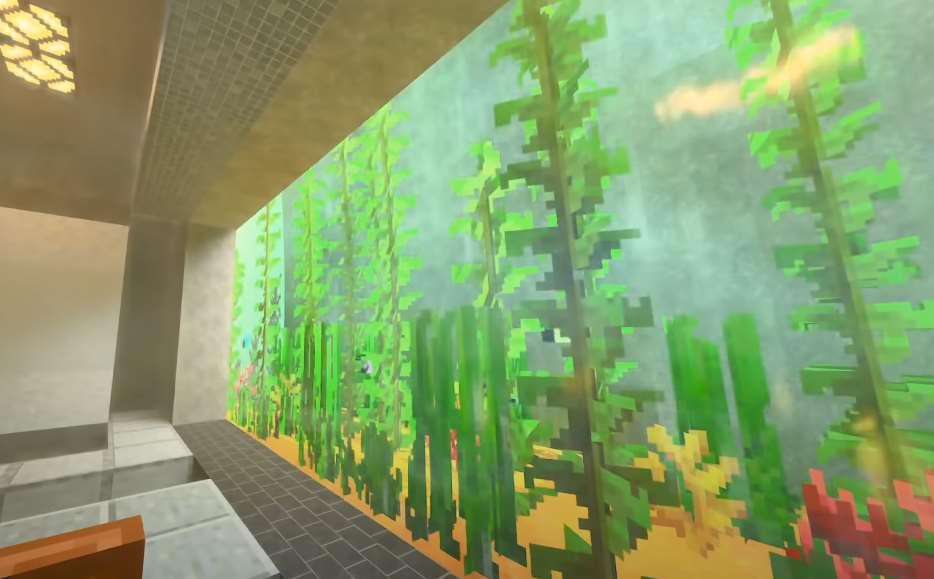 Pecera en Minecraft con RTX activado